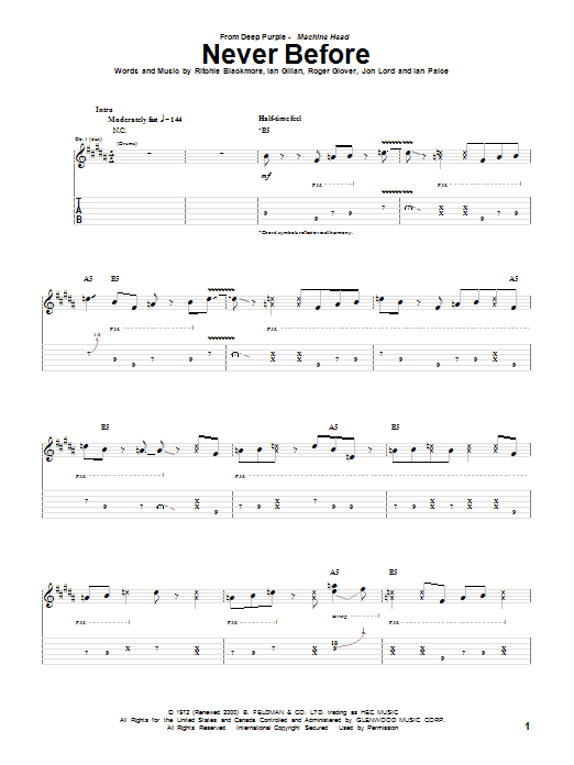 Tablature guitare Never Before de Deep Purple - Tablature Guitare