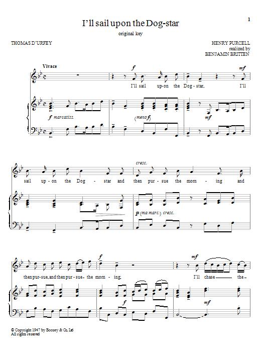 I'll Sail Upon The Dog-Star (Piano & Vocal)