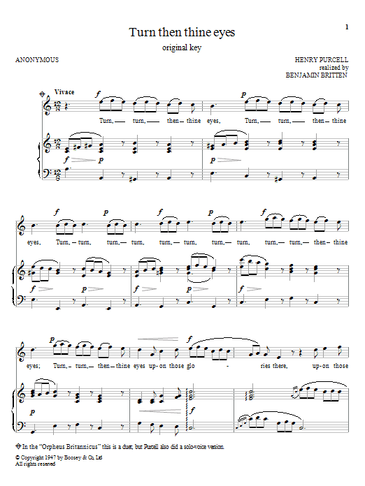 Turn Then Thine Eyes (Piano & Vocal)