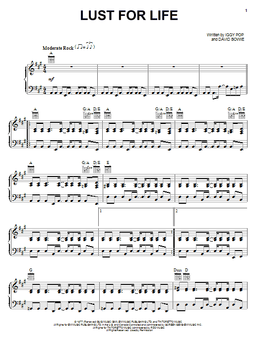 Partition piano Lust For Life de Iggy Pop - Piano Voix Guitare (Mélodie Main Droite)