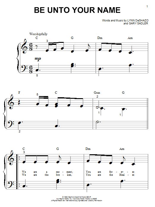 Be Unto Your Name Sheet Music