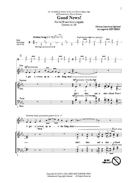 Partition chorale Ain't A That Good News de Ken Berg - SATB