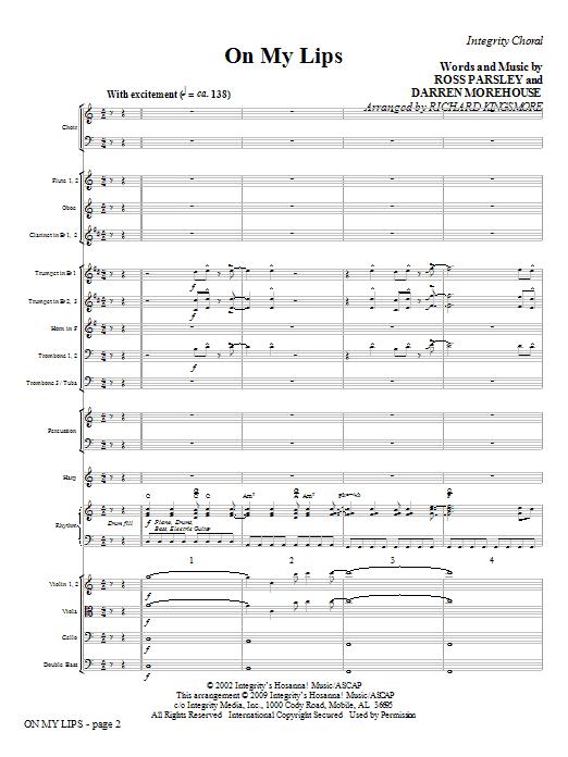 On My Lips - Full Score Sheet Music
