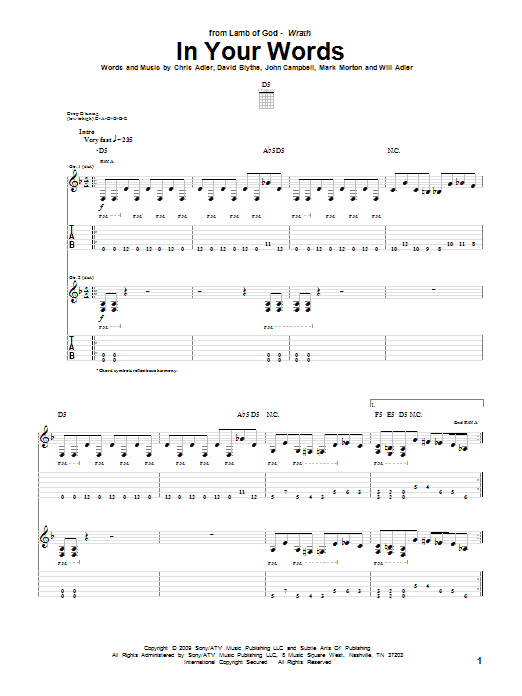 Tablature guitare In Your Words de Lamb Of God - Tablature Guitare