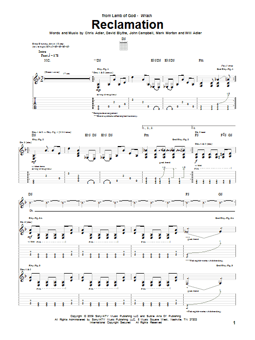 Reclamation Sheet Music