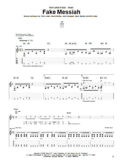 Fake Messiah Sheet Music