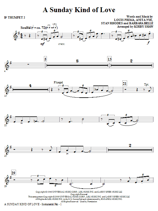 A Sunday Kind of Love - Bb Trumpet 2 Sheet Music