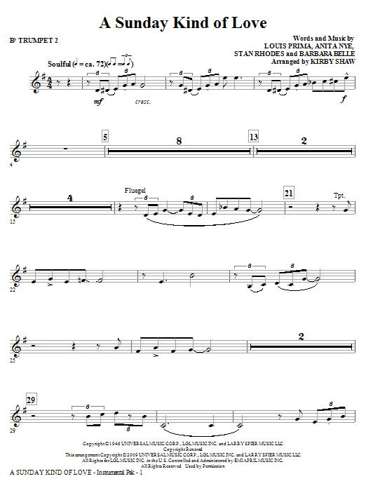 A Sunday Kind of Love - Bb Trumpet 2 (Choir Instrumental Pak)