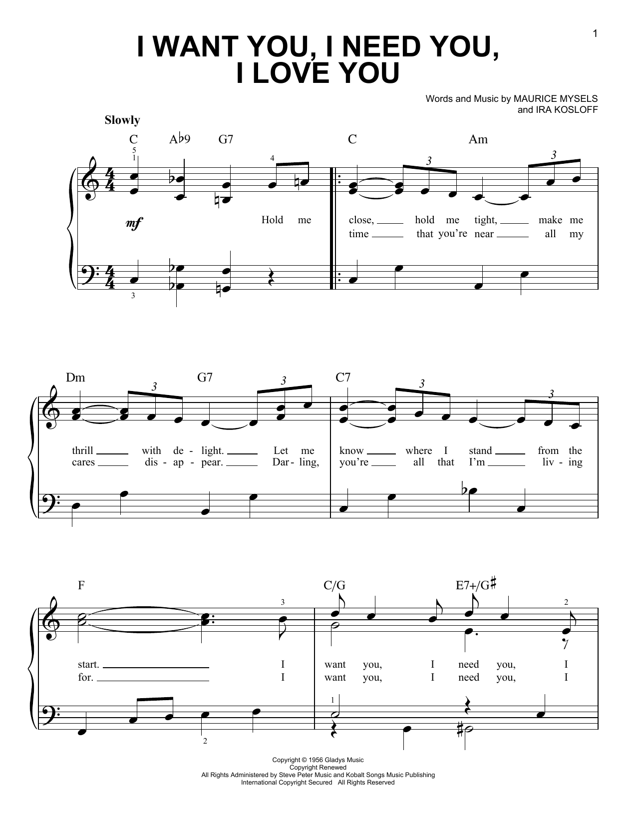 I Want You, I Need You, I Love You Sheet Music