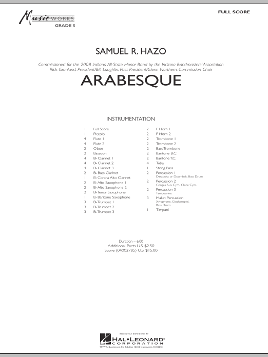 Arabesque (COMPLETE) sheet music for concert band by Samuel R. Hazo. Score Image Preview.