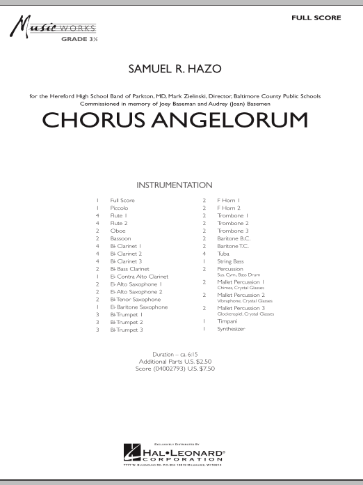 Chorus Angelorum (COMPLETE) sheet music for concert band by Samuel R. Hazo. Score Image Preview.