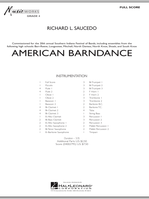American Barndance (COMPLETE) sheet music for concert band by Richard L. Saucedo. Score Image Preview.