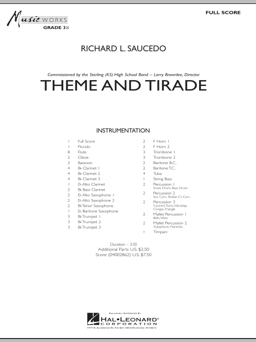 Theme and Tirade (COMPLETE) sheet music for concert band by Richard L. Saucedo. Score Image Preview.