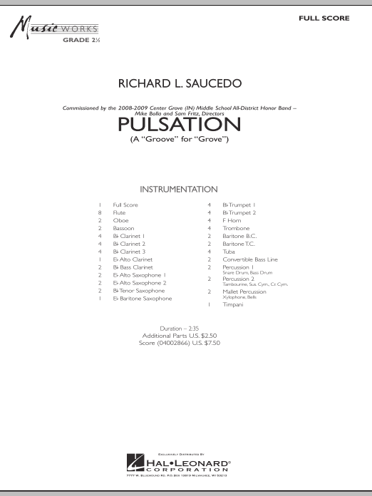 Pulsation (COMPLETE) sheet music for concert band by Richard L. Saucedo. Score Image Preview.