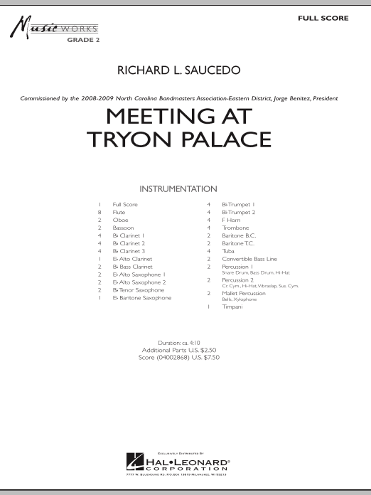 Meeting at Tryon Palace (COMPLETE) sheet music for concert band by Richard L. Saucedo. Score Image Preview.