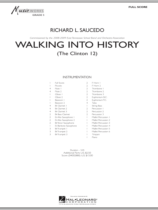 Walking into History (The Clinton 12) (COMPLETE) sheet music for concert band by Richard L. Saucedo. Score Image Preview.