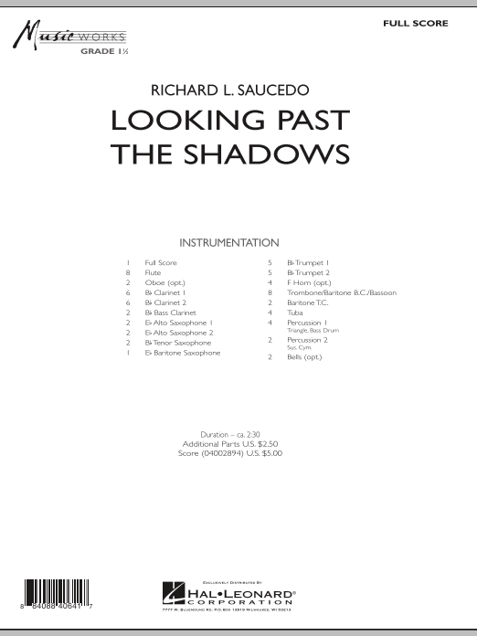 Looking Past the Shadows (COMPLETE) sheet music for concert band by Richard L. Saucedo. Score Image Preview.