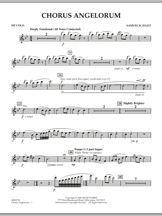 Chorus Angelorum - Piccolo (Concert Band)