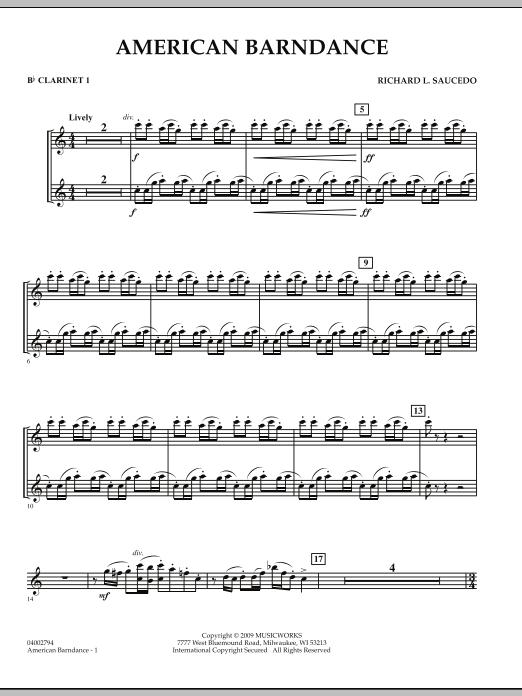 American Barndance - Bb Clarinet 1 (Concert Band)