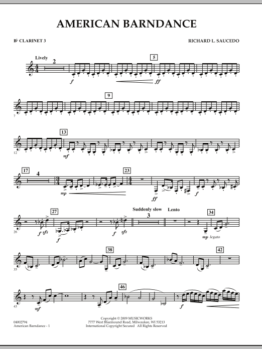 American Barndance - Bb Clarinet 3 (Concert Band)