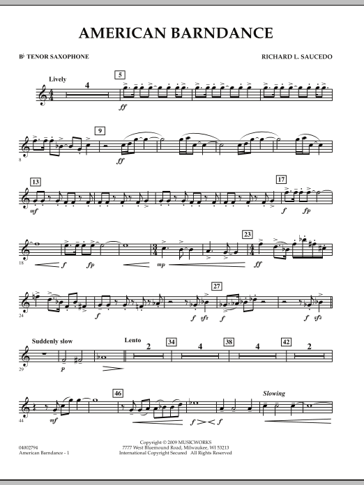 American Barndance - Bb Tenor Saxophone (Concert Band)