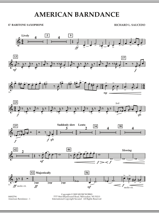 American Barndance - Eb Baritone Saxophone (Concert Band)