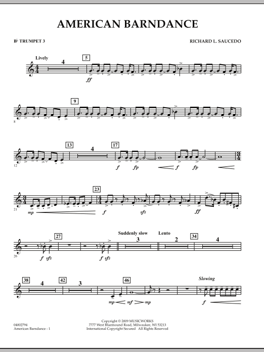 American Barndance - Bb Trumpet 3 (Concert Band)