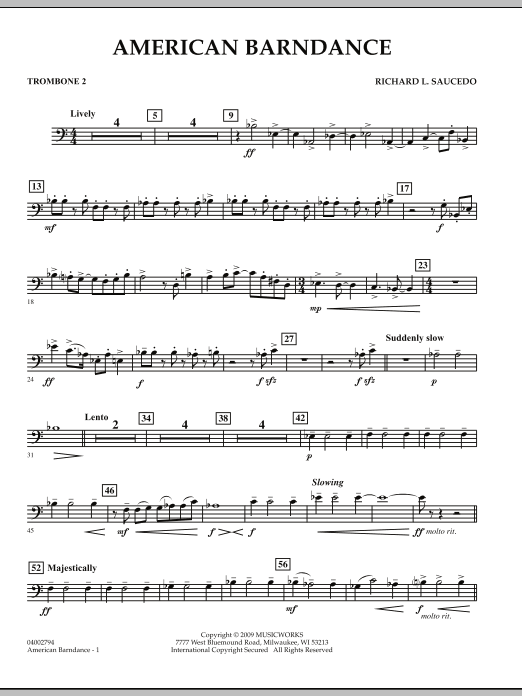 American Barndance - Trombone 2 (Concert Band)