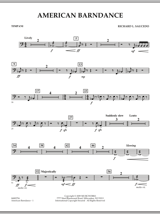 American Barndance - Timpani (Concert Band)
