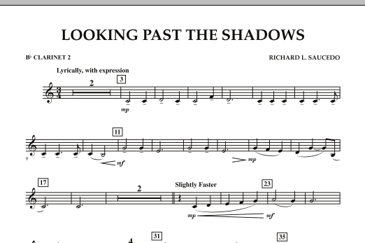 Looking Past the Shadows - Bb Clarinet 2 (Concert Band)