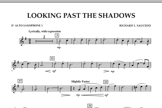 Looking Past the Shadows - Eb Alto Saxophone 1 (Concert Band)