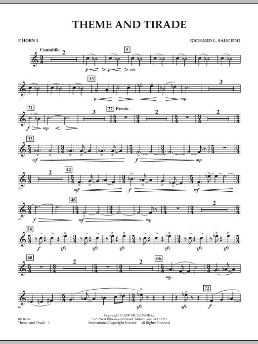 Theme and Tirade - F Horn 1 (Concert Band)
