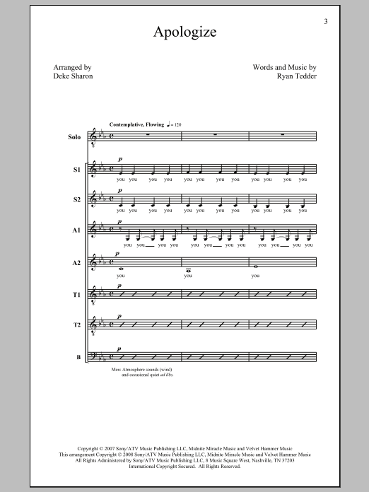 Apologize (feat. OneRepublic) (arr. Deke Sharon) Sheet Music