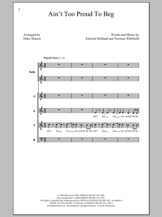 Ain't Too Proud To Beg (arr. Deke Sharon) Sheet Music
