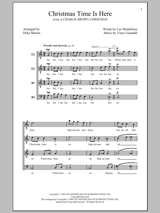 Christmas Time Is Here (arr. Deke Sharon) Sheet Music