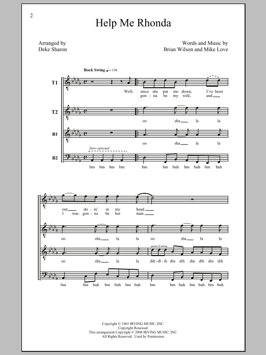 Help Me Rhonda (arr. Deke Sharon) Sheet Music