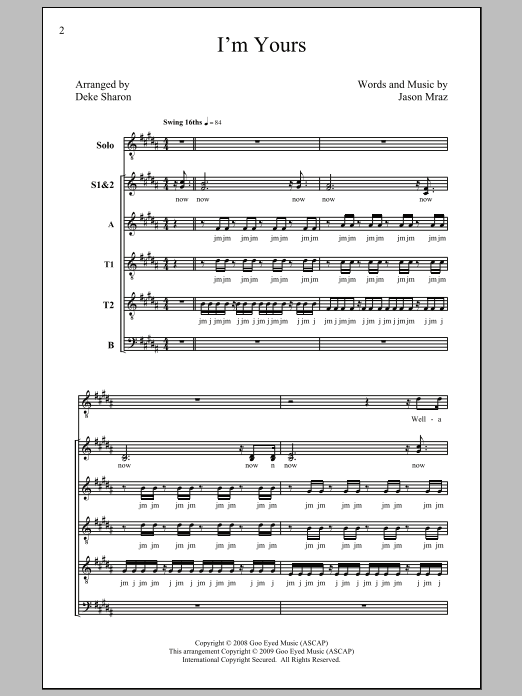 I'm Yours (arr. Deke Sharon) Sheet Music