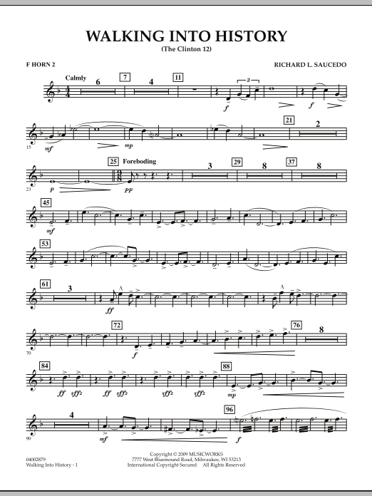 Walking into History (The Clinton 12) - F Horn 2 (Concert Band)