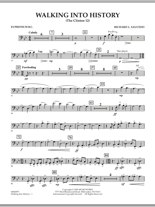 Walking into History (The Clinton 12) - Euphonium in Bass Clef (Concert Band)