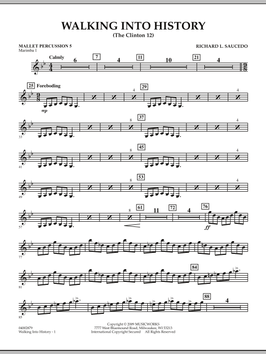 Walking into History (The Clinton 12) - Mallet Percussion 5 (Concert Band)
