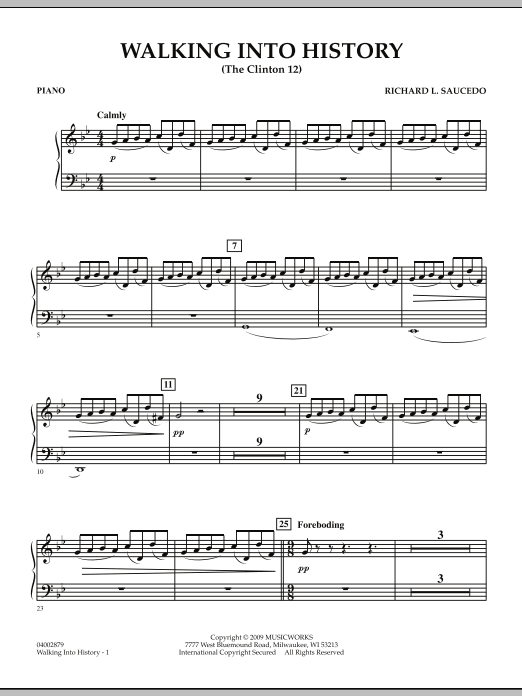 Walking into History (The Clinton 12) - Piano (Concert Band)