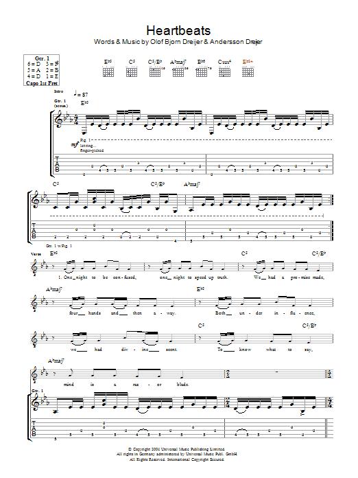 Heartbeats (Guitar Tab)
