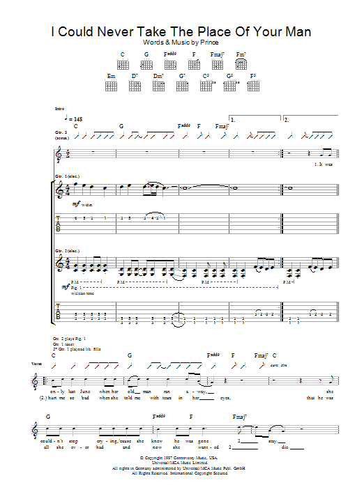 I Could Never Take The Place Of Your Man (Guitar Tab)