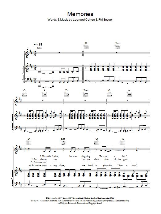 Memories (Piano, Vocal & Guitar)
