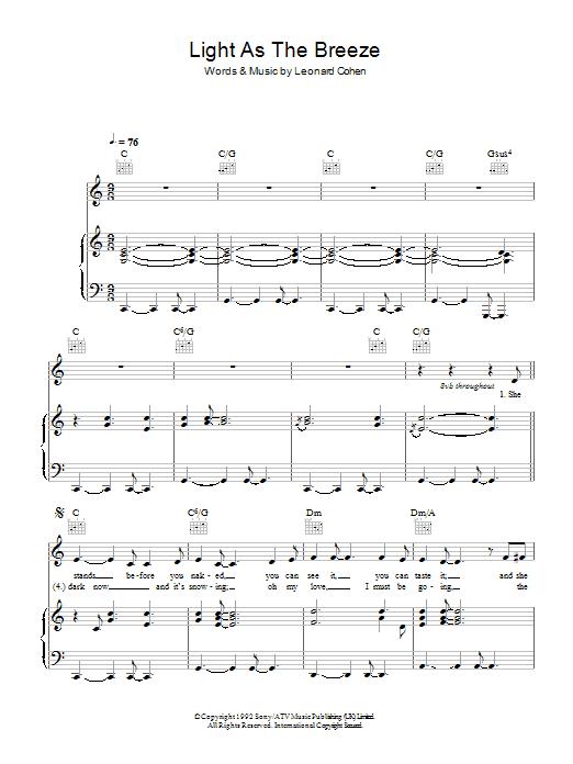 Light As The Breeze (Piano, Vocal & Guitar)