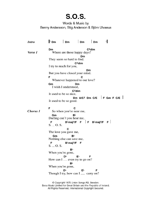 S.O.S. by ABBA - Guitar Chords/Lyrics - Guitar Instructor