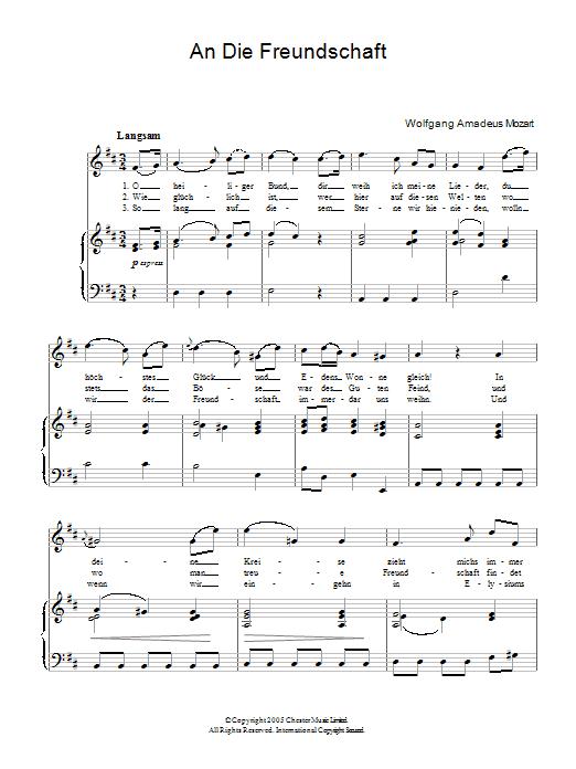 An Die Freundschaft K.148 Sheet Music
