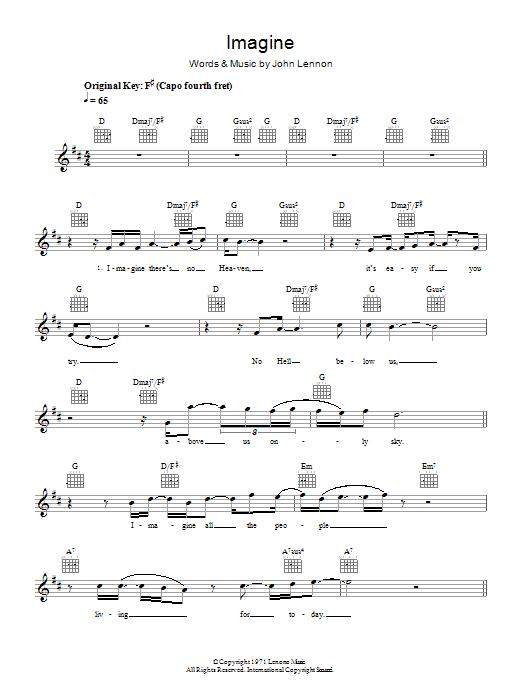 Imagine Eva Cassidy Melody Line Lyrics Chords