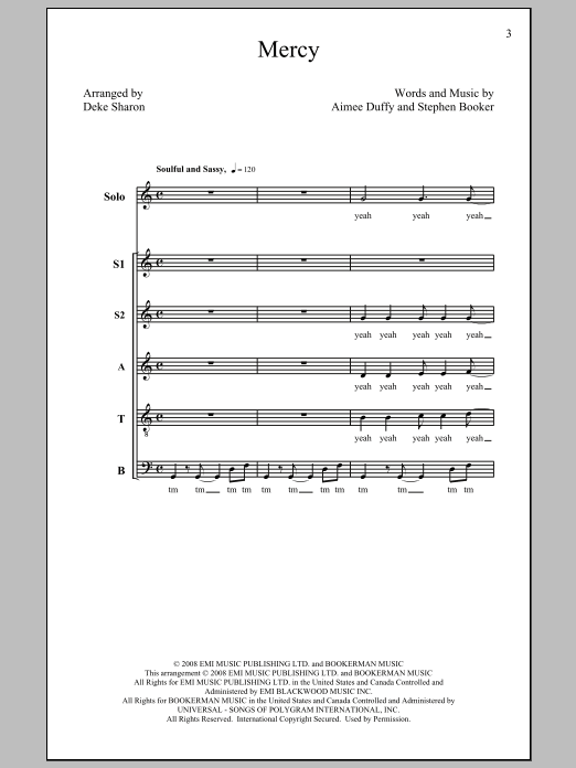 Partition chorale Mercy de Duffy - SATB