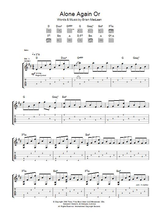 Alone Again Or (Guitar Tab)
